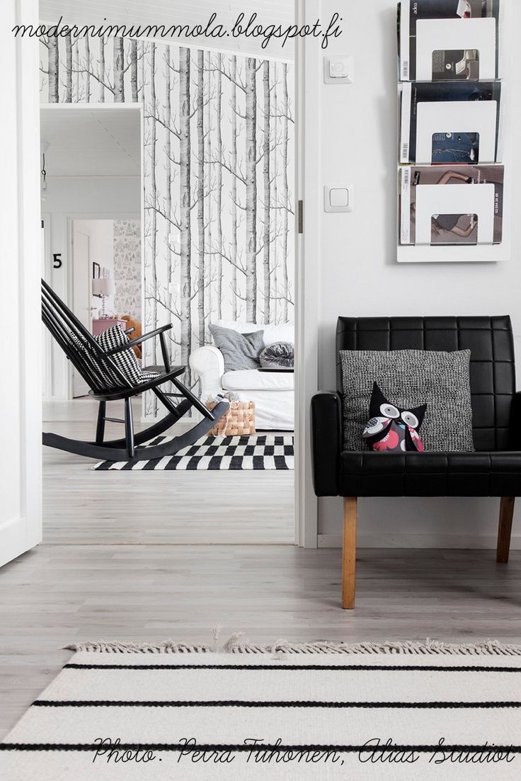 Scandinavian living room details black grey and white
