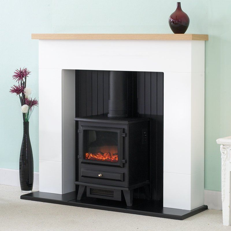 Oak Mantle White And Black Fireplace Electric Stove Fire