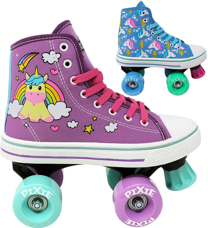 Derby Childrens Skate Rollerskates Made for Kids Outdoor Great for Beginner Indoor Lenexa Roller Skates for Girls High Top Sneaker Style Pixie Unicorn Kids Quad Roller Skate