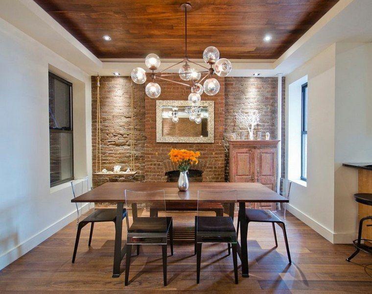 Déco salle à manger avec mur brique : 50 idées originales ...