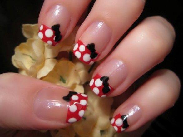 Minnie Mouse nails. Cute.