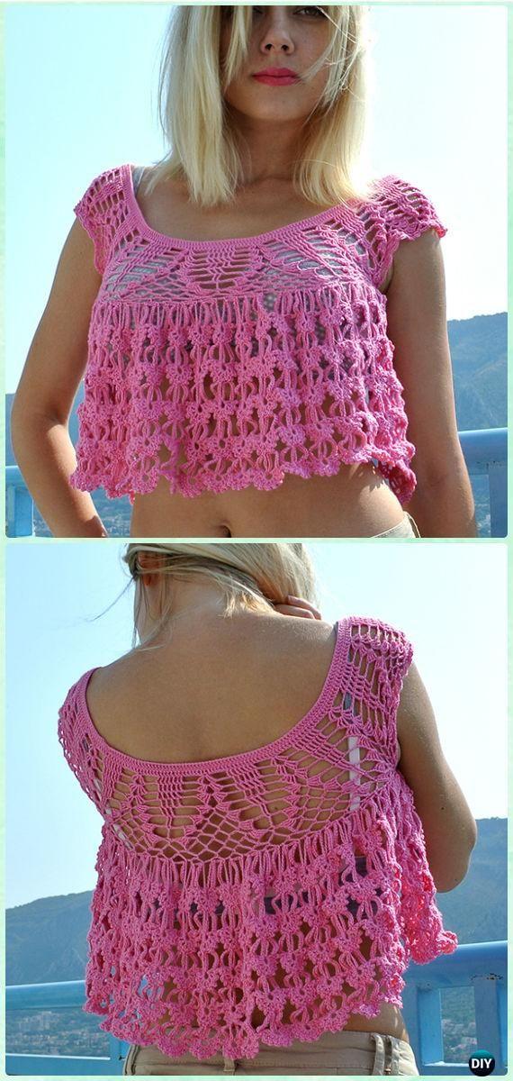 Crochet Women Summer Crop Top Free Patterns | Crochet, Patterns and ...