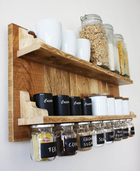 Gorgeous spices or coffee shelf with hanging jars by APT8ecodesign - weinregal f r k che