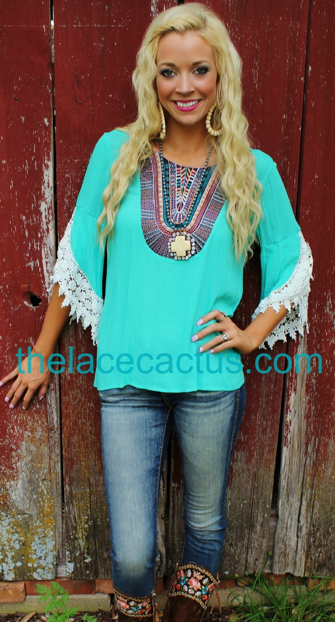 Santa Fe turquoise crochet sleeve top - The Lace Cactus