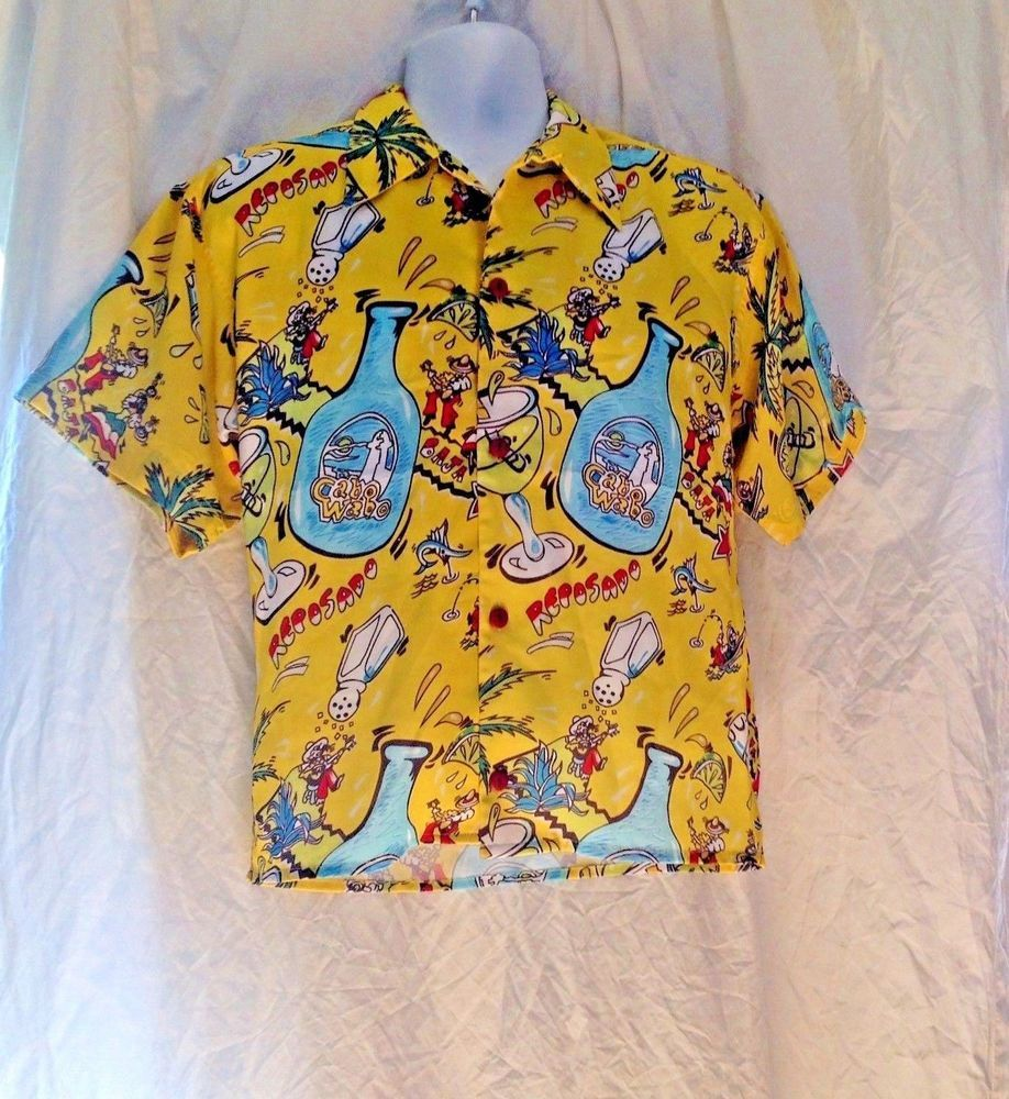 Cabo Wabo Cantina Hawaiian Shirt Reposado Yellow Sz 38 Cocktails Sammy Hagar Cabowabocantina Hawaiian Mens Outfits Hawaiian Shirt Mens Fashion