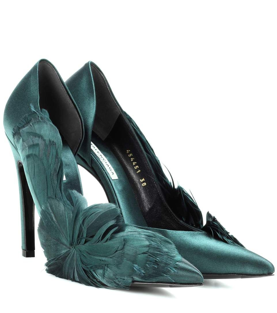 Feather-embellished green satin pumps