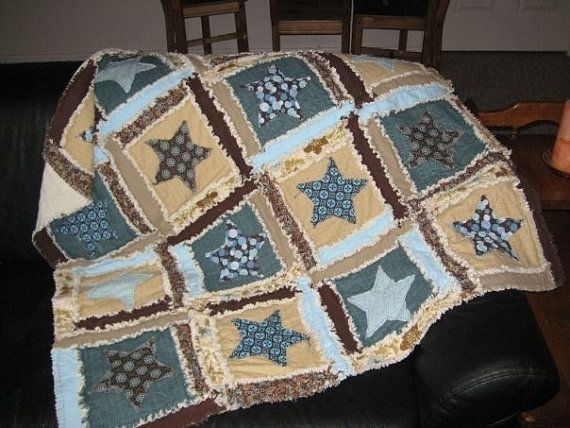 Rag Quilt PATTERN Star Applique Rag Quilt Baby Blanket, SEWING ...