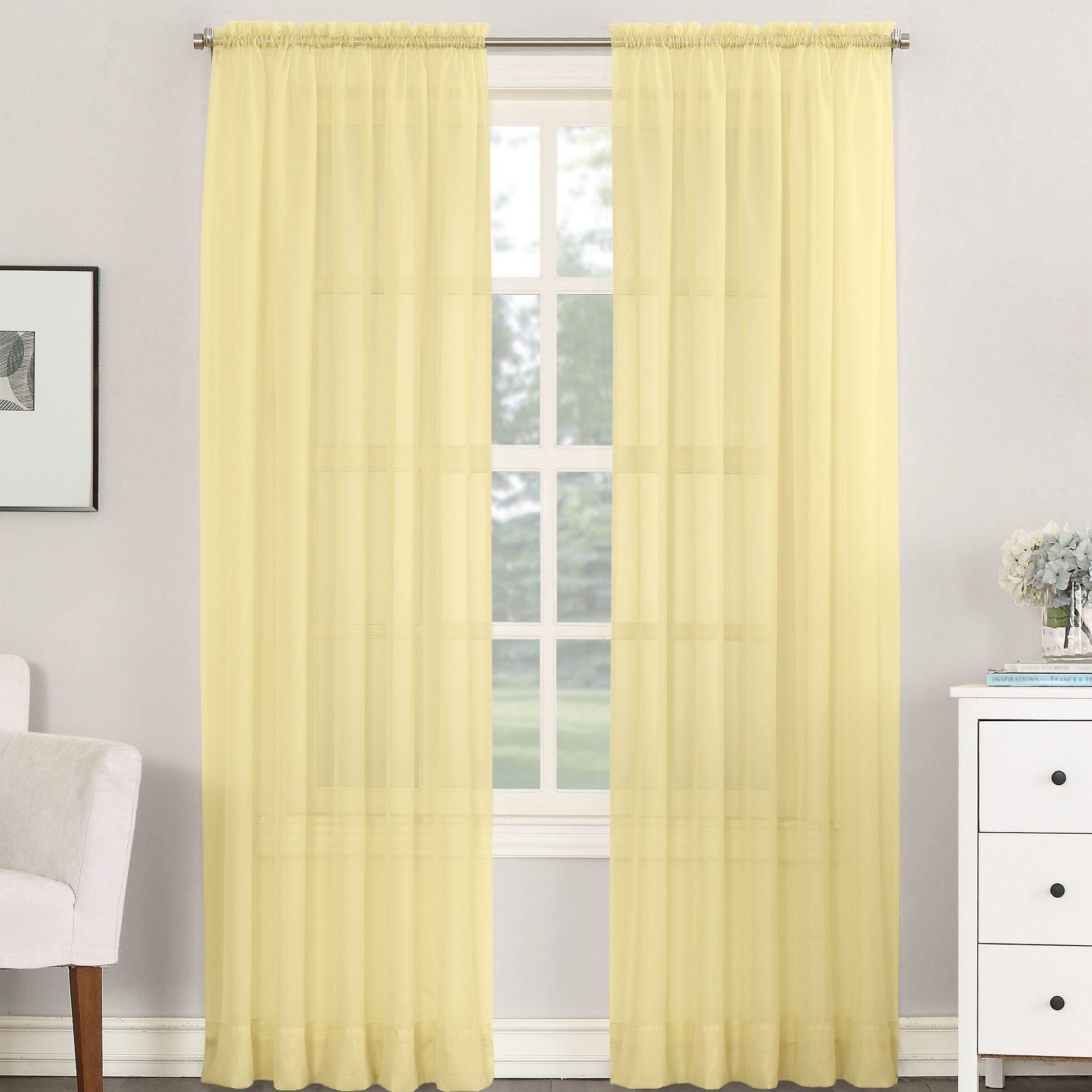Emily solid sheer rod pocket single curtain panel pinterest rod