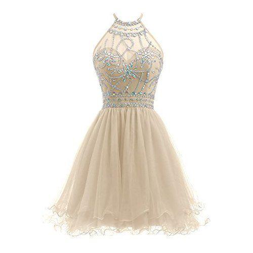 Ellames Women\'s Beaded Halter Homecoming Dress Short Tulle Prom ...