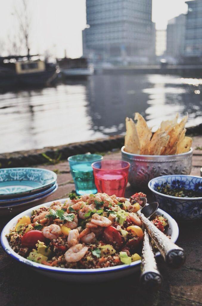 Quinoa salad with mango, avocado, shrimp & peanut dressing