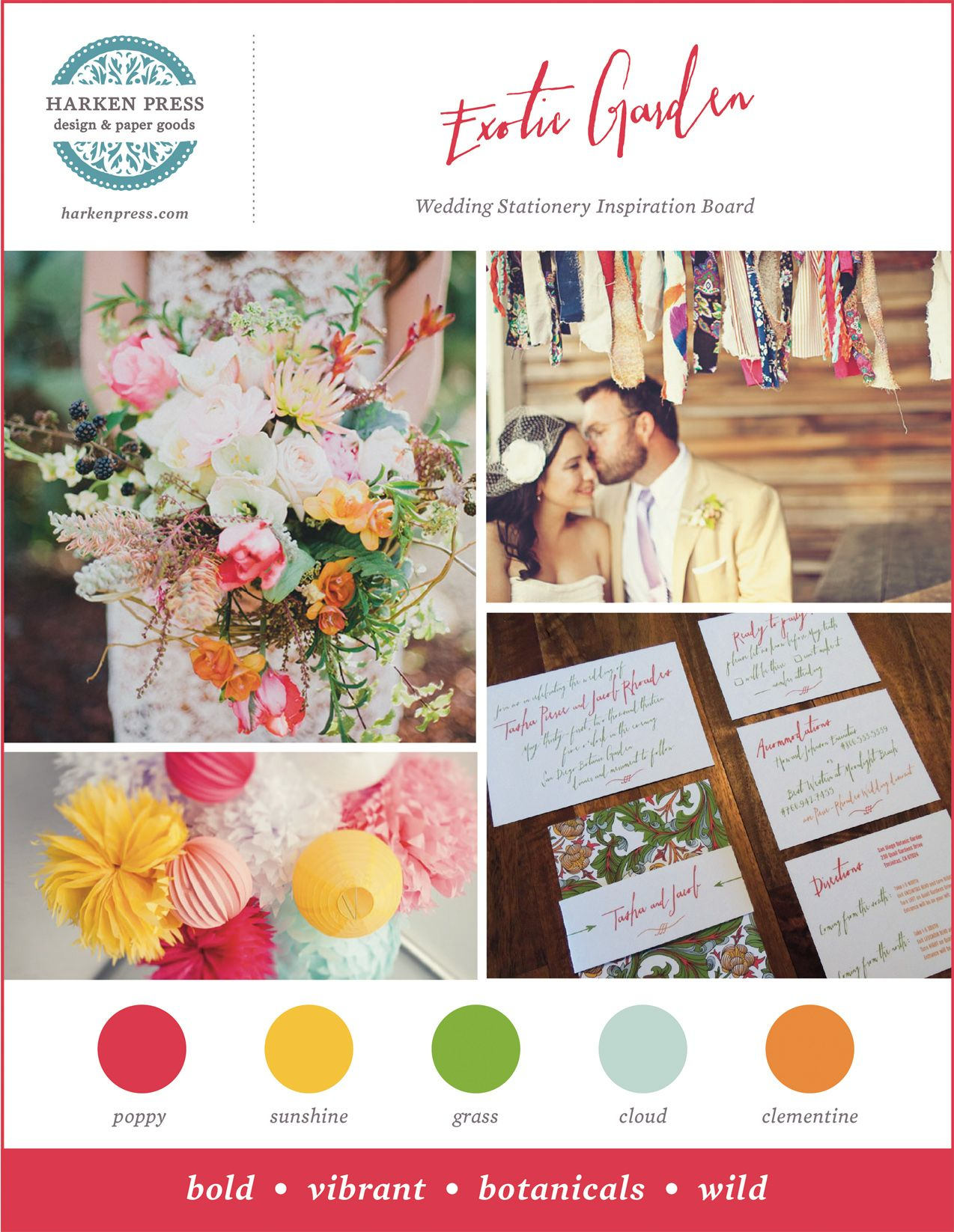 Inspiration Board For The Exotic Garden Wedding Invitation Suite By