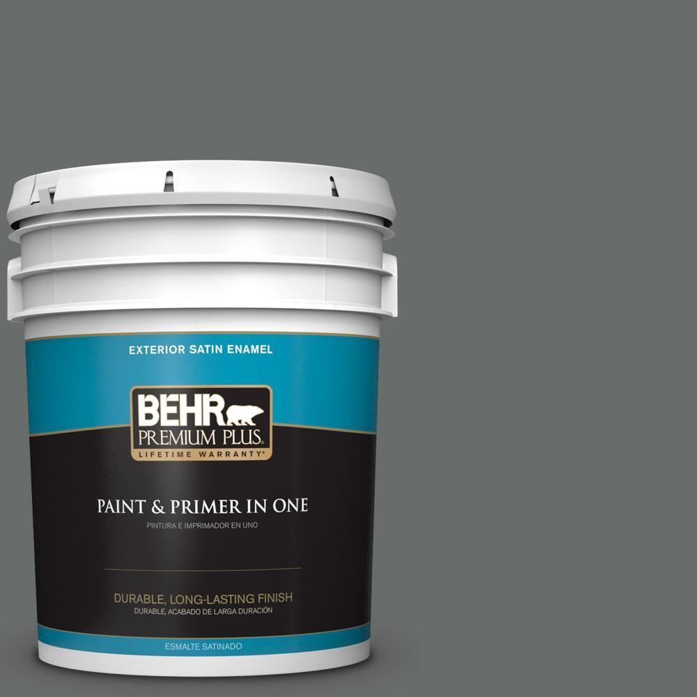 BEHR Premium Plus 5 gal. #PPU25-03 Shadows Satin Enamel Exterior Paint