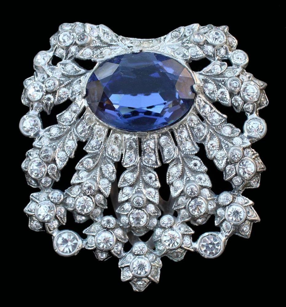 Vintage+EISENBERG+ORIGINAL+Faux+Sapphire+Dress+Clip+Pin+Estate+#EisenbergOriginal