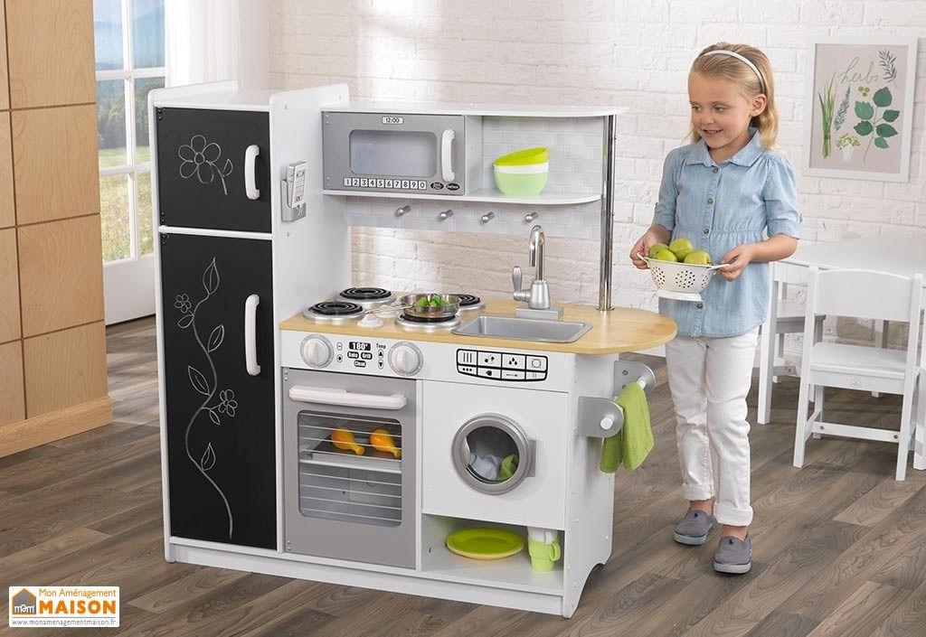 cuisine en bois jouet pour enfant 1,10 m blanche toute équipée ...