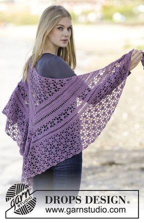 """Scialle DROPS lavorato all'uncinetto a maglie alte e motivo traforato in """"BabyAlpaca Silk"""". ~ DROPS Design"""