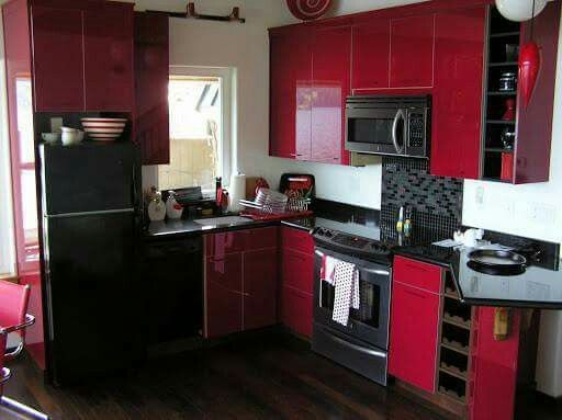 red and black kitchen | Kitchen decor, Small kitchen decor ...