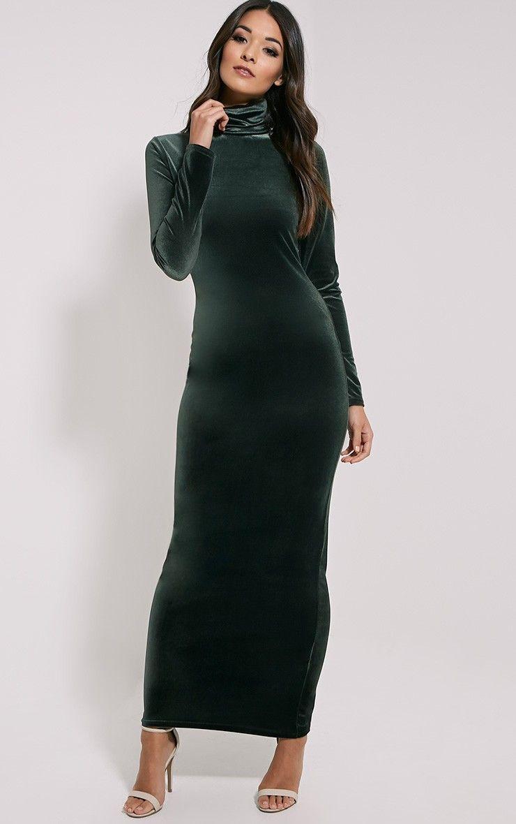 Cindy Khaki Turtle Neck Velvet Maxi Dress  Lange kleider, Kleider