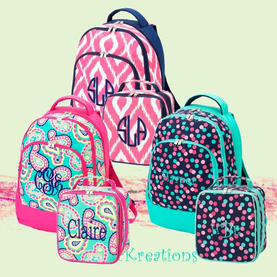 NEW 2015 STYLE Personalized Girls 2 Peice Set, Backpack and Lunch ...