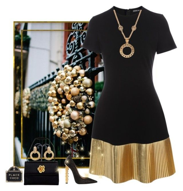 """""""Holiday in Gold"""" by easy-dressing ❤ liked on Polyvore featuring Markus Lupfer, Chanel, gold, blackandgold, WhatToWear and polyvoreeditorial"""