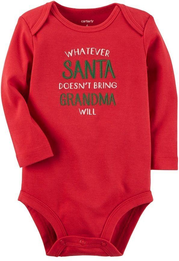 NEW boy//girl CARTER'S whatever santa doesn't grandma will BODYSUIT sz 3 MTHS