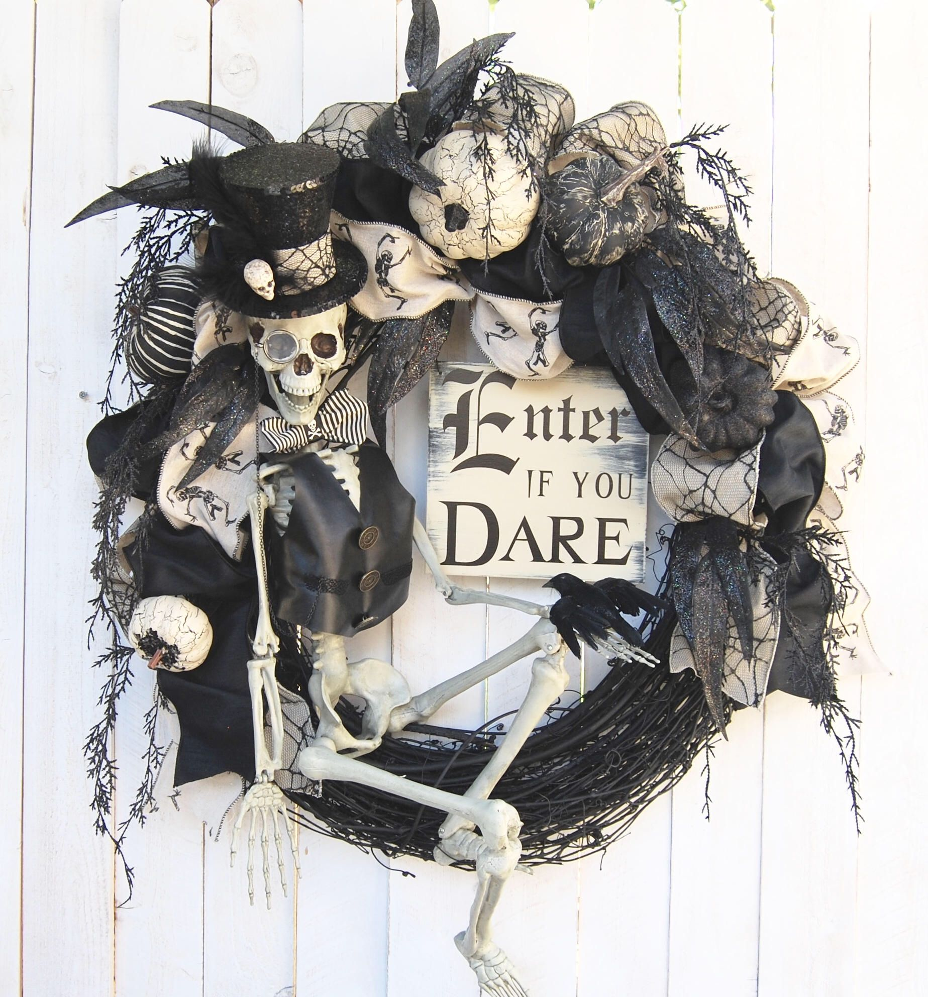 Avail July 2018 28 Halloween Wreath, Steampunk Skeleton Halloween Wreath,