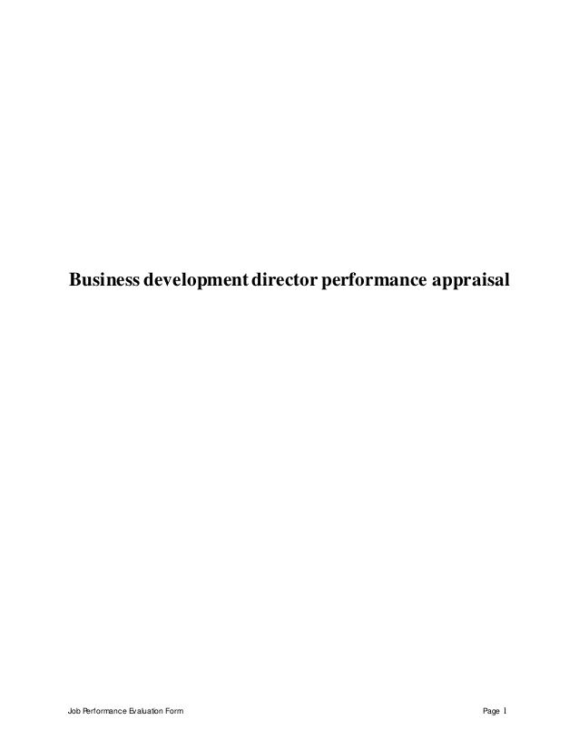 Job Performance Evaluation Form Page 1 Business developmentdirector