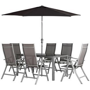buy malibu 6 seater patio furniture set black at argoscouk
