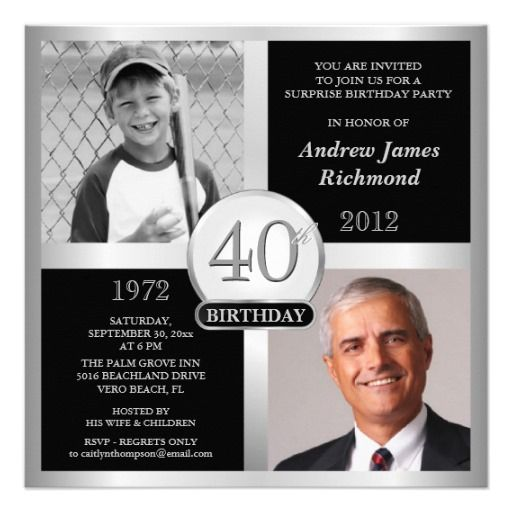 40th Birthday Invitations Then & Now Photos