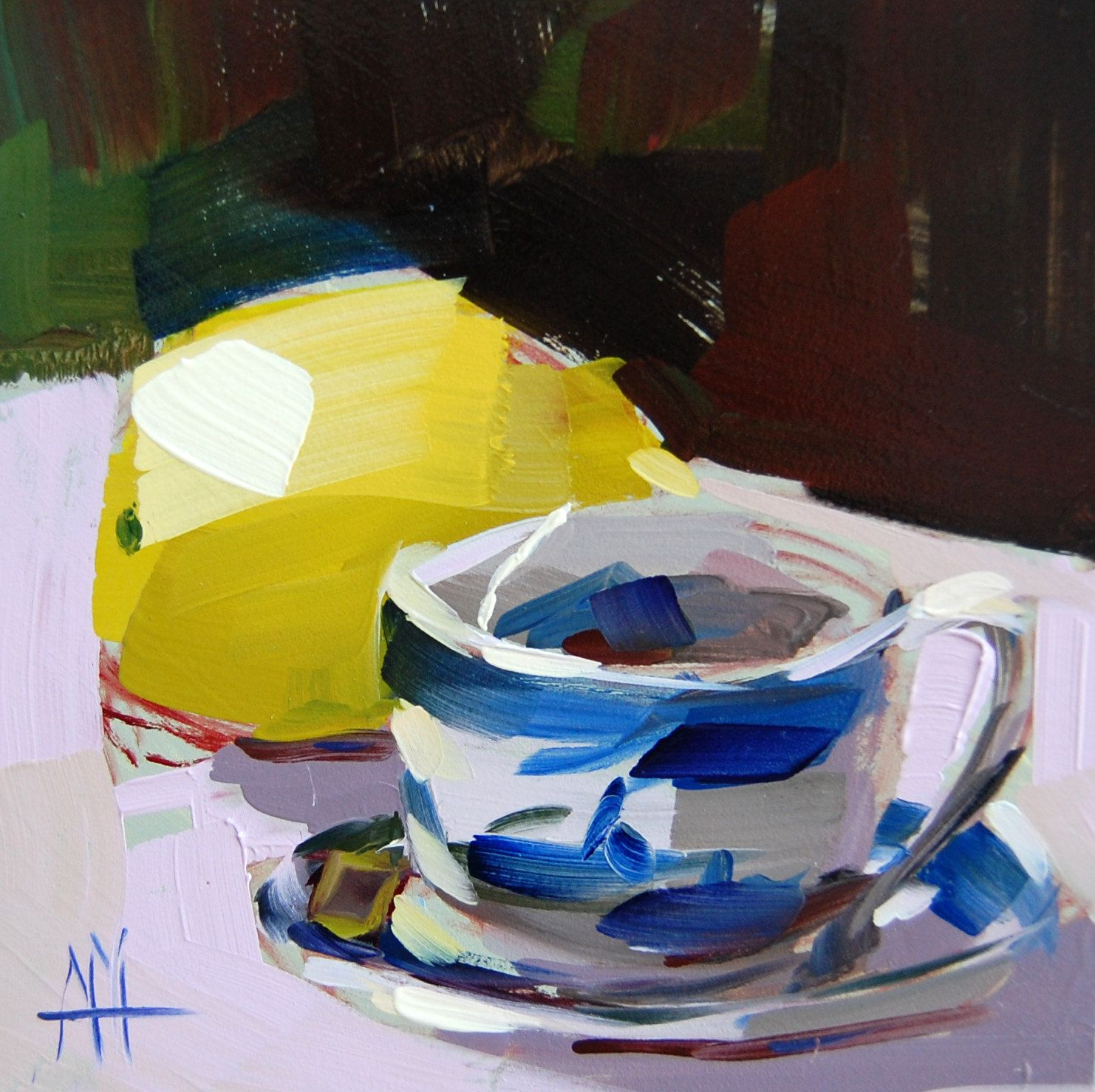 Tea with Lemon original still life teacup oil painting by Angela Moulton