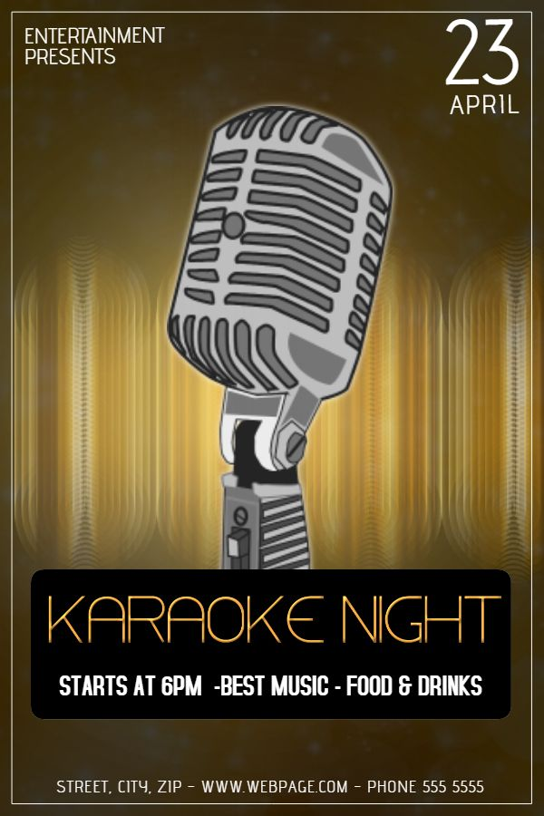 Karaoke Night Bar Poster Template Click To Customize  Bar