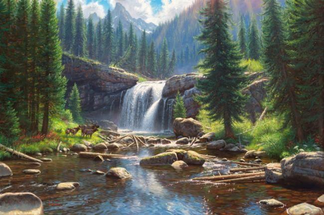 Wonders By Mark Keathley Waterfall River Mountains Pine Trees Elk Waterfall Landscape Paintings Nature