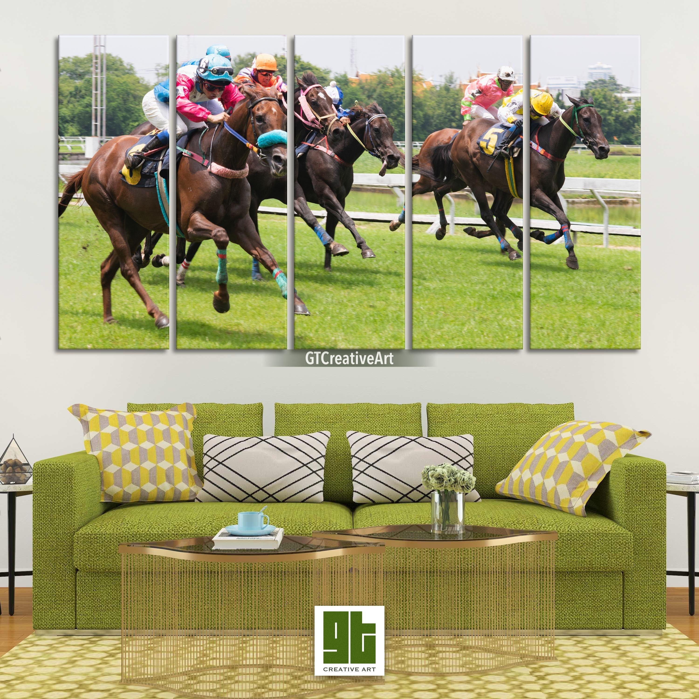 Horse Racing Canvas Artwork Multi