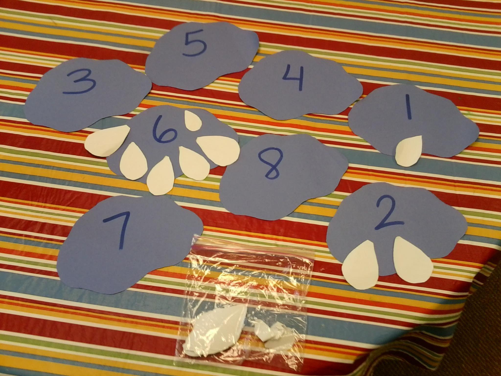 Rain Cloud Number Match Preschool Math Center Students