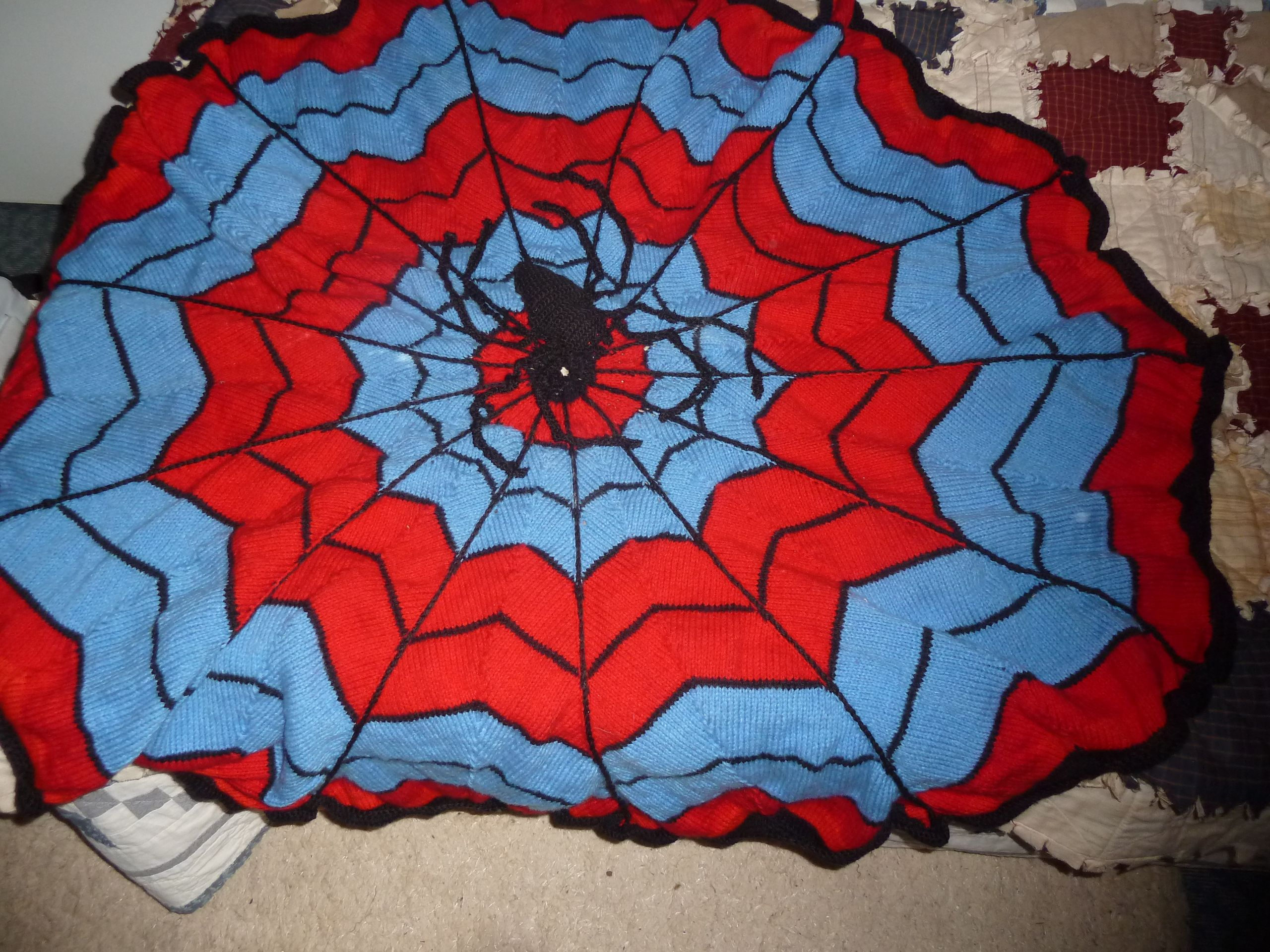 Spider web knitted blanket by teddybearmargaret ...