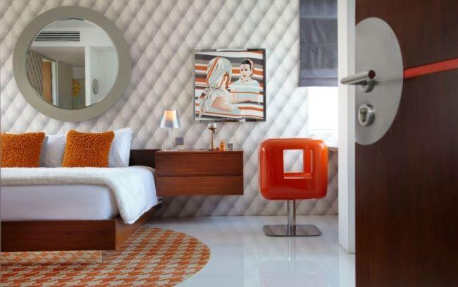 schlafzimmer retro modern orange grau holz möbel wand deko - graue moebel einrichtung modern ideen