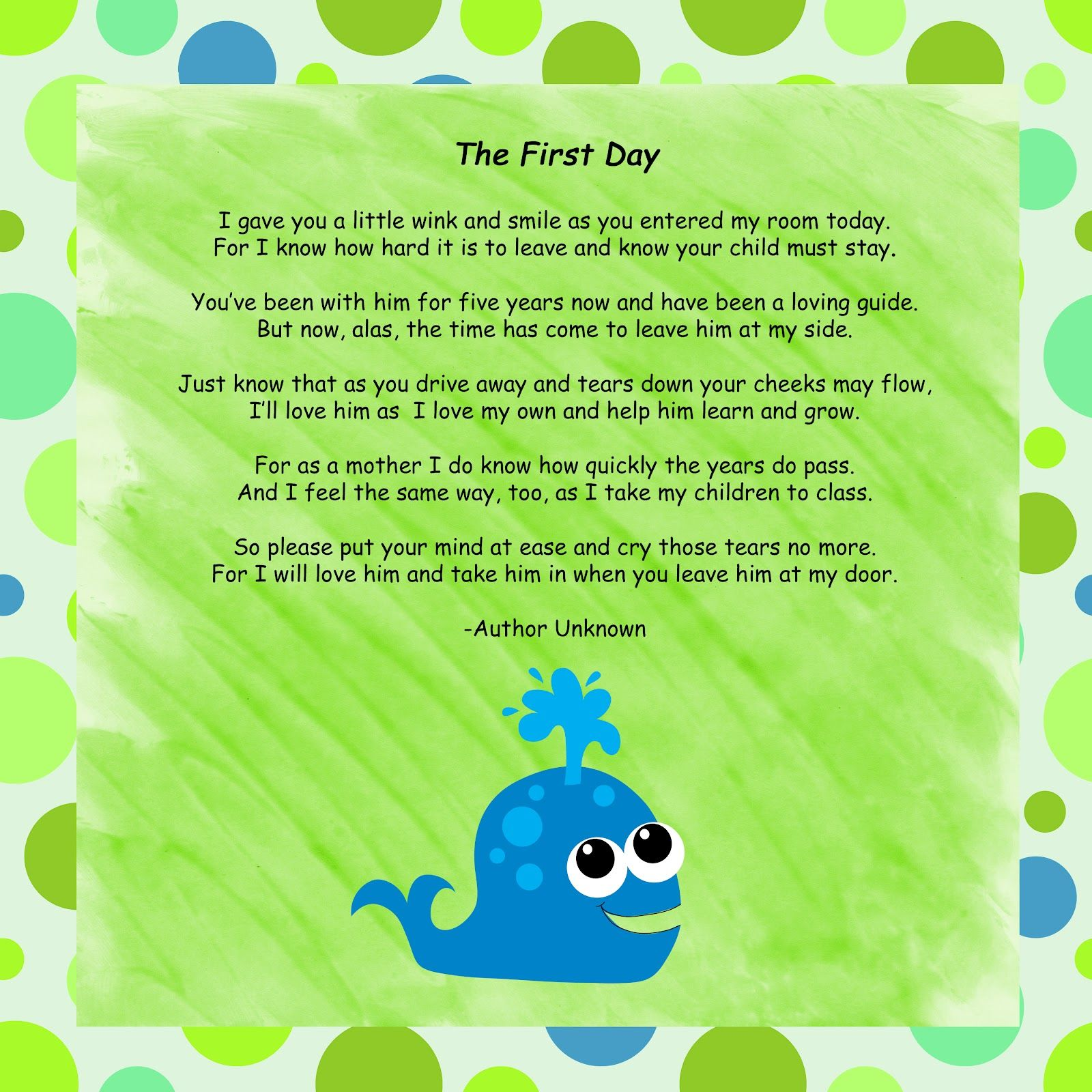 poems for parents | Mrs. Perry's Kindergarten!: First Day Poem