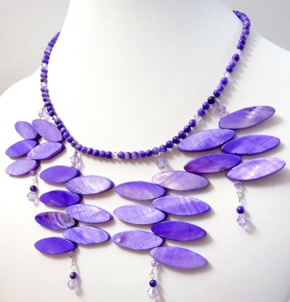Plum Purple Tendrils Statement Necklace  organic by tinymishaps, $65.00