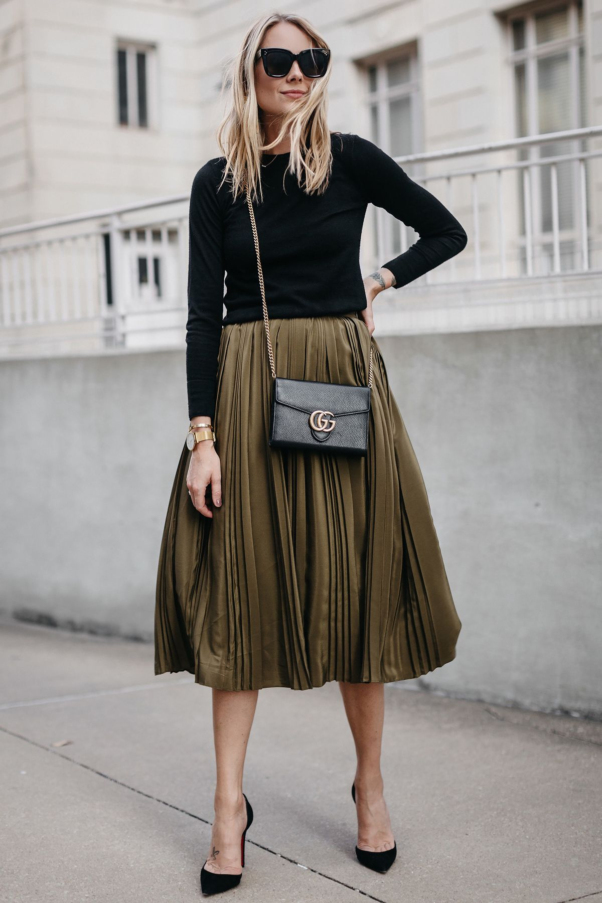 d2fb58d19 Black Sweater Robert Rodriguez Green Pleated Midi Skirt Gucci Marmont  Handbag Christian Louboutin Black Pumps Fashion Jackson