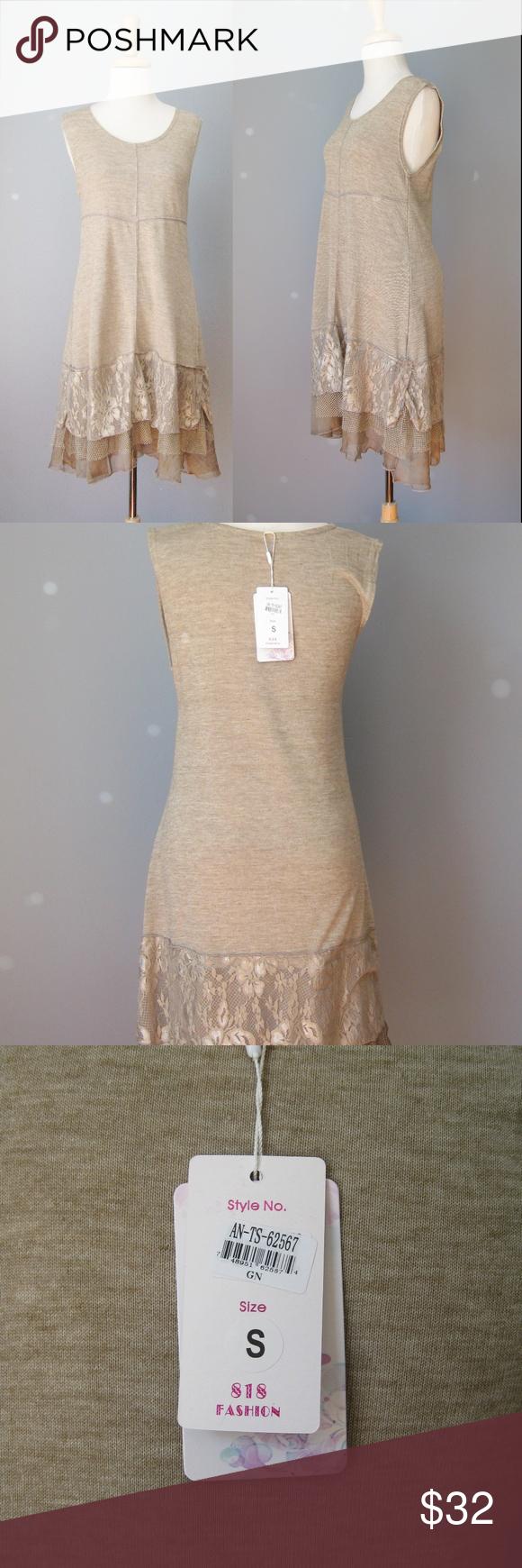 92eaec8854 NWT Pretty Angel Dress Taupe Lace trim Tank Dress NWT