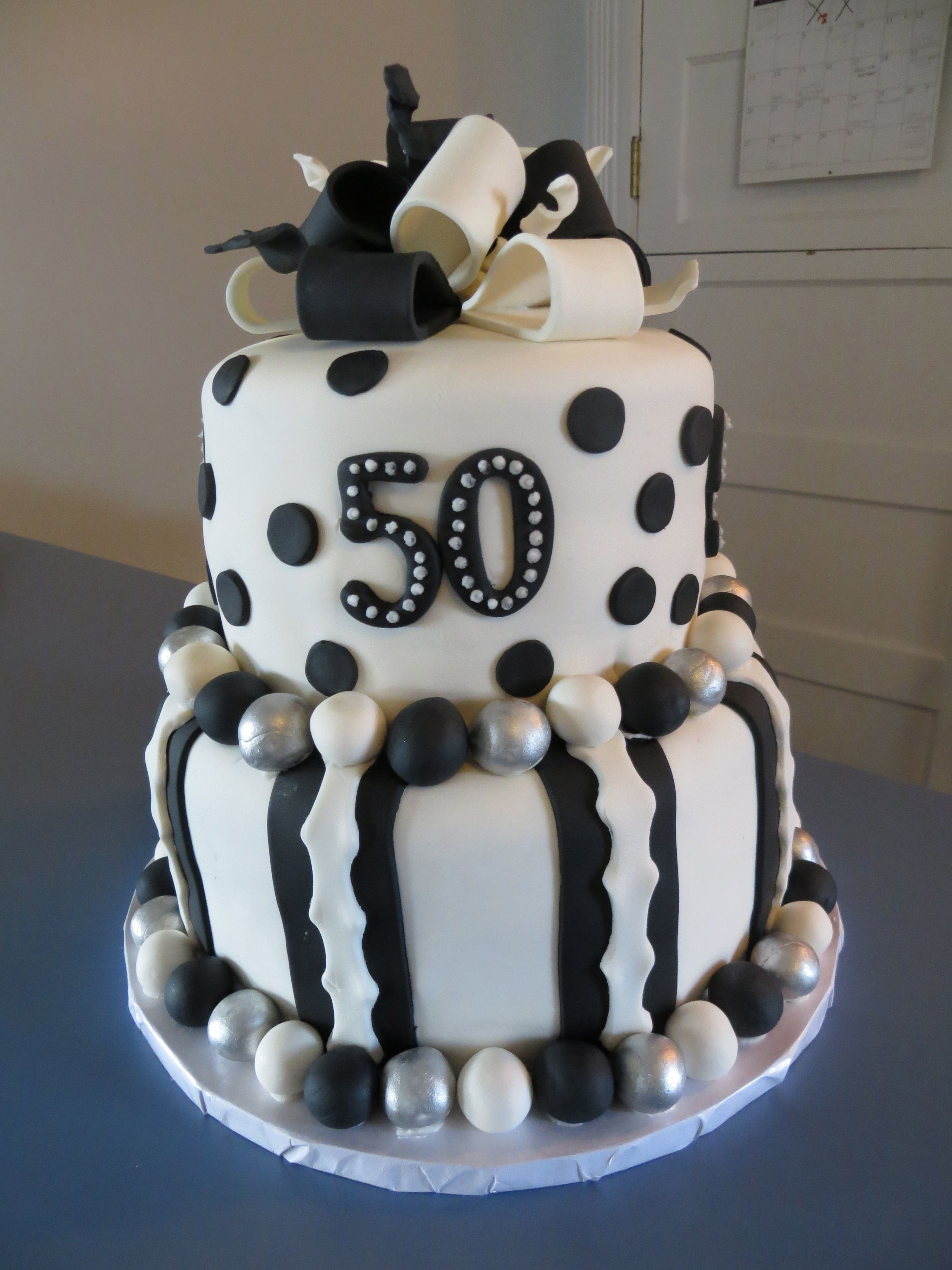50th Birthday Cake 50th Black And White Birthday Cake
