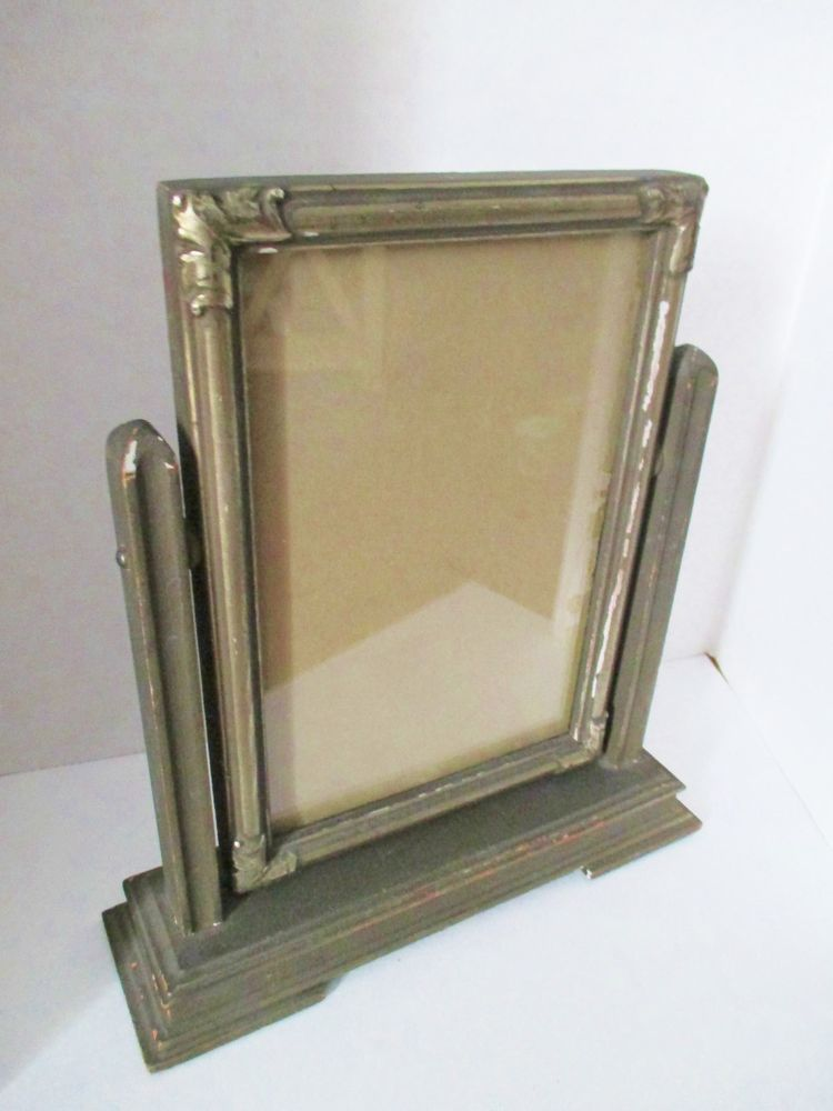 Antique Picture Frame Silvery Finished Wood Swivels Desktable Dury