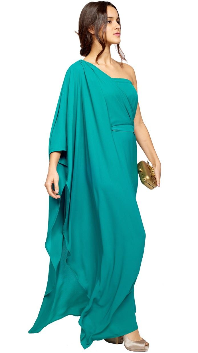 vestido largo griego verde de invitada diponible para su alquiler on ...
