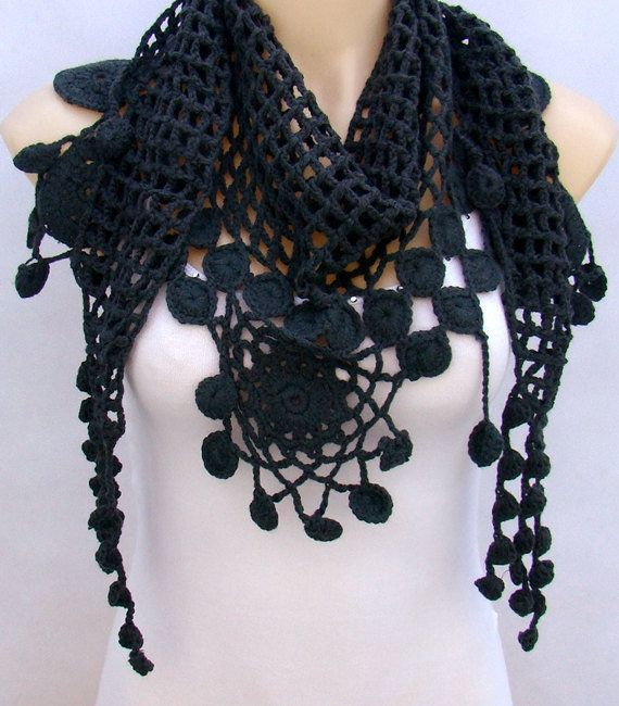 Siyah Renk Orgu Fular Modelleri Kendinyapsana Com Siyah Renk Orgu Siyah Orgu