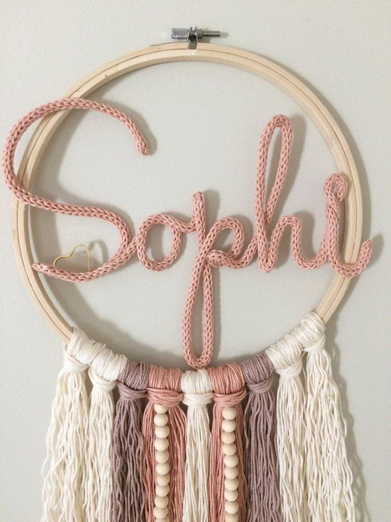Photo of Dream Catcher with name-large, personalized, wall decoration, door sign, letter, baby room, gift birth, name tag, baptism Etsy