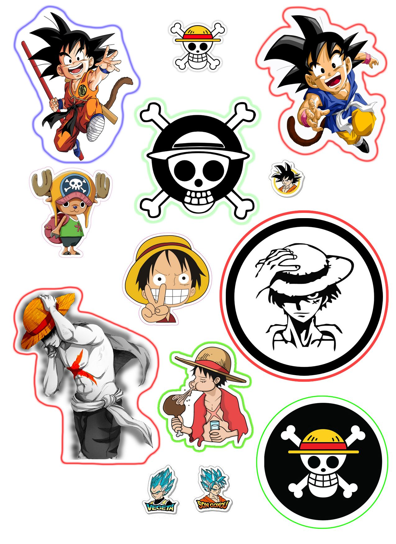 Sticker one piece and dragon ball 2