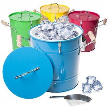 4pk Behren S Steel 1 Gallon Ice Buckets Lid Scoop Handles Bucket With Lid Gallon Kitchen Innovation