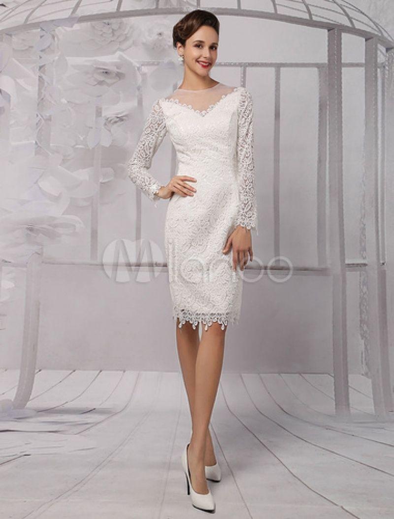 Simply Long Sleeve Knee Length Wedding Dress | Wedding dress ...