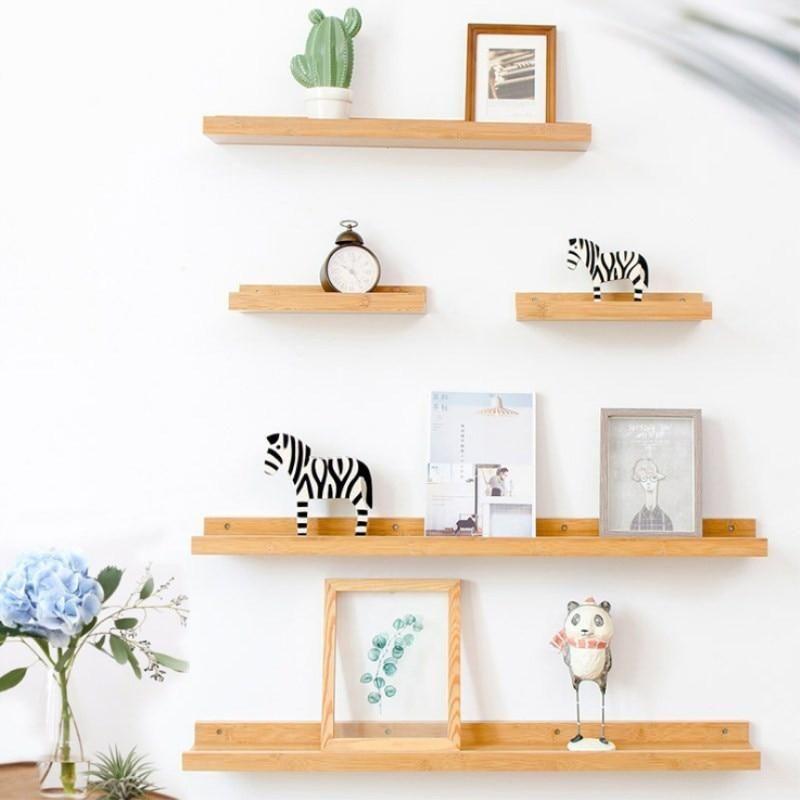 Bamboo Hanging Shelf Home Decor Shelves Wall Mounted Shelves