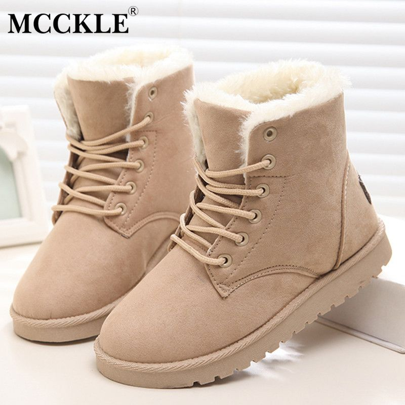 Women's Winter Warm Waterproof Snow Boots Lace up Ankle Bootie