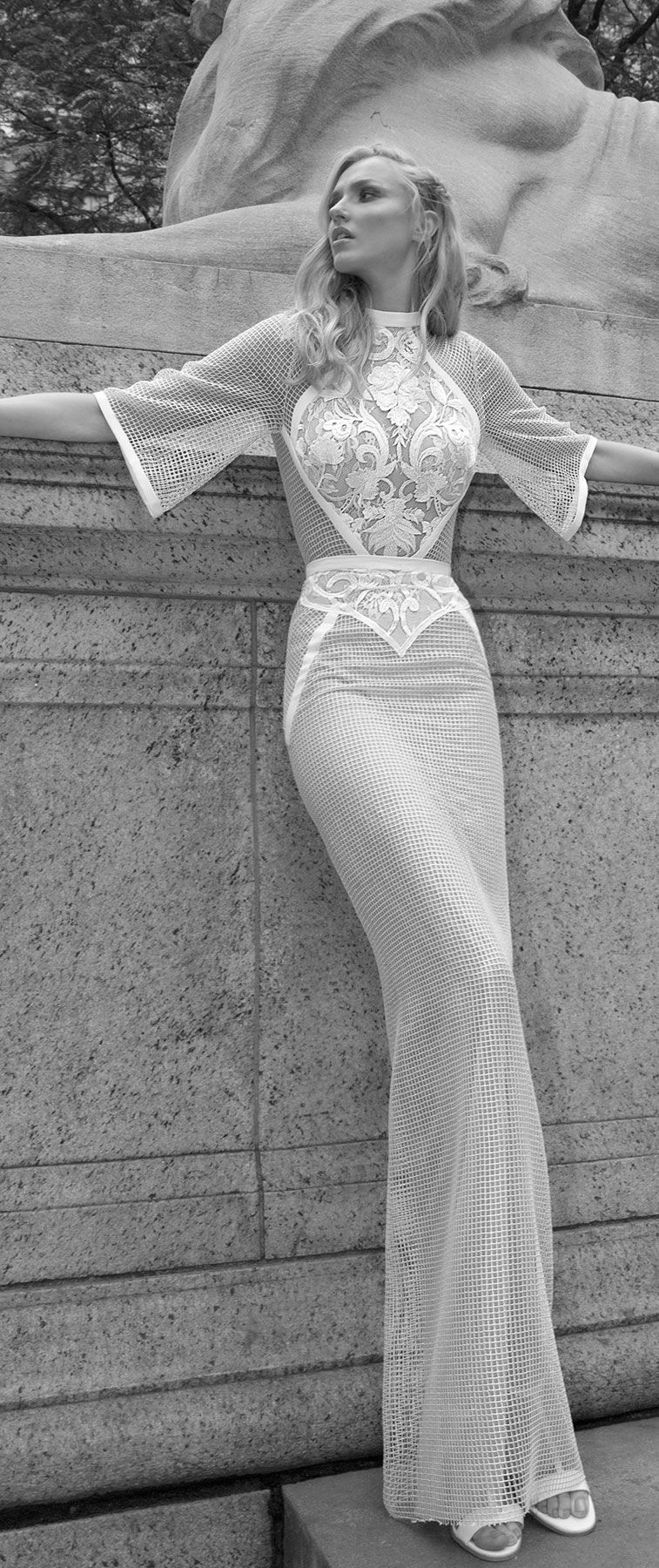 Lior Charchy NYC 2017 3/4 length sleeves fully embellishment sheath wedding dress lior charchy bridal #wedding #weddings #bride #bridaldress #weddinggown
